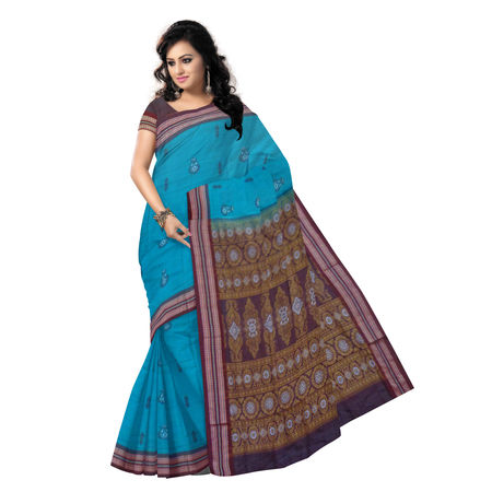 OSS135: Sea Green Bomkai Design Cotton Saree