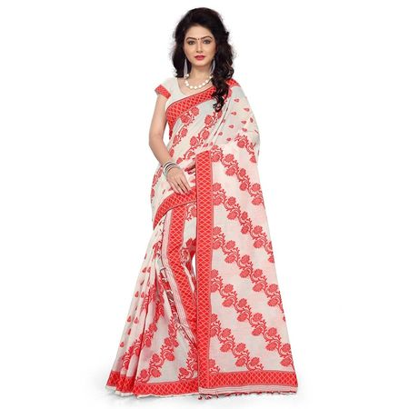 OSSASM101: Orange with White Mekhla chador saree of Assam.
