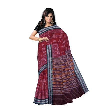 OSS9135: Maroon-Black tribal design Sambalpuri Cotton Sari