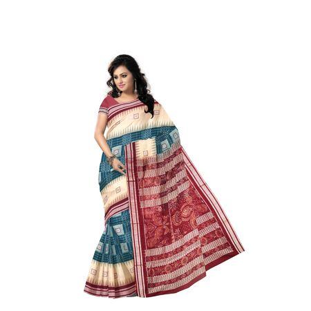 Deep Green with Maroon Handloom Bomkai Design Cotton saree with Blouse Piece AJ001221