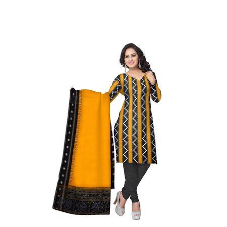 Yellow with Black Pasapalli Handloom Ladies Cotton Dress Material of Odisha Sonepur AJ001489