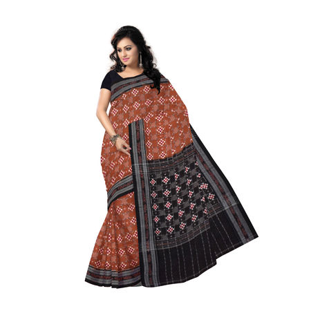 OSS7442: Deep Brown ethnic Pasapalli design hand woven cotton saree of Sambalpur