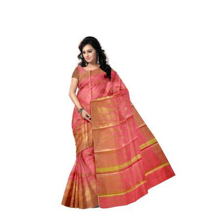 Dull Pink With Golden Handloom Temple Design Banaras cotton Silk Saree of Uttar Pradesh AJ001574