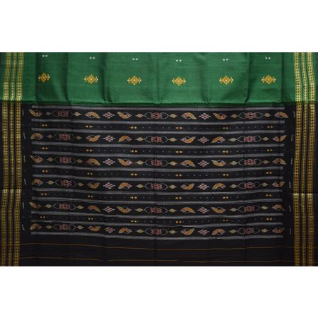 Bottle Green With Black Handloom Small Bomkai Cotton Saree Of Sonepur Odisha AJ001507