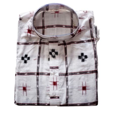 Handloom Sambalpuri Pasapalli Cotton Kurta in White AJ001201 (Size-42)
