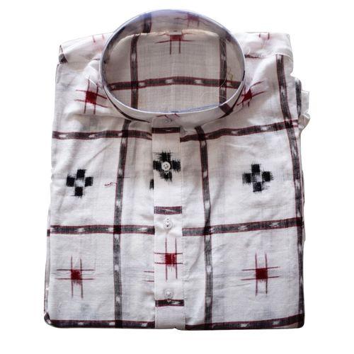 Handloom Sambalpuri Pasapalli Cotton Kurta in White AJ001201 (Size-42)