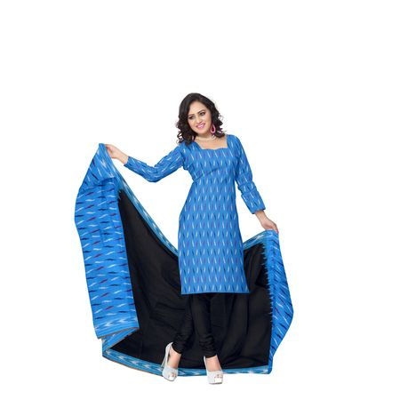 Sky Blue with Black Handloom Ponchampally Ladies cotton Dress Material AJ001326