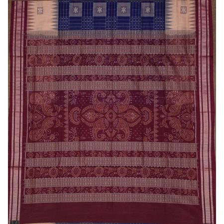 Navy Blue with Maroon Handloom Bomkai Design Cotton saree with Blouse Piece AJ001222