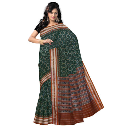 OSS039: Green with brown Ikat design handloom cotton sarees of orissa