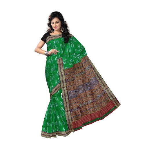 OSS255: Tribal Body Design Handwoven Sambalpuri silk Saree., green