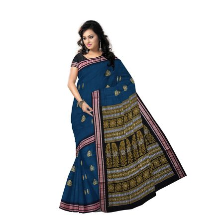 AJ000118: Navy Blue with Black Handloom Bomkai cotton saree with Blousepiece
