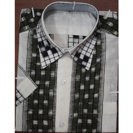 Handloom Sambalpuri Cotton Half Shirt in White with Grey AJ001180