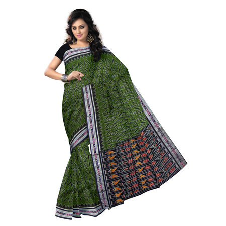 OSS9091: Depp Olive with Black Handwoven Cotton Saree.