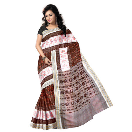 OSS7583: Brown with White Handwoven Cotton sarees online shopping