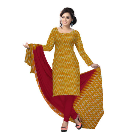 OSSTG6240: Unstitched Women' s Handwoven Orange with Red Pochampally cotton Dress Material with same Dupatta