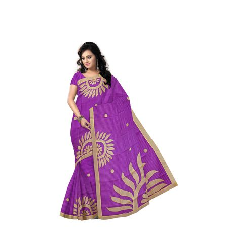 Sun Design Applique Work Handloom Light Purple With Golden Cotton Saree Of West Bengal AJ001466