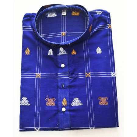 Blue With White Sambalpuri Handloom cotton Kurta for Men made in Odisha Sambalpur AJ001768