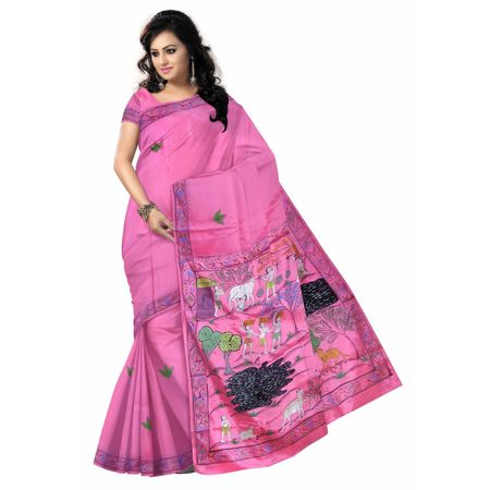 OSS20079: Hindu religious and mythological themes and village story Pink color patachitra saree