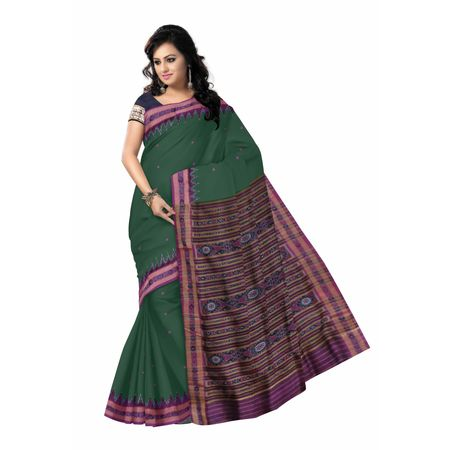 OSS5107: Odisha's best Green handloom silk sari from nuapatna weavers