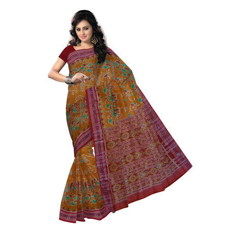 OSS5168: Handwoven Raw Honey with Maroon sambalpuri Silk Saree.