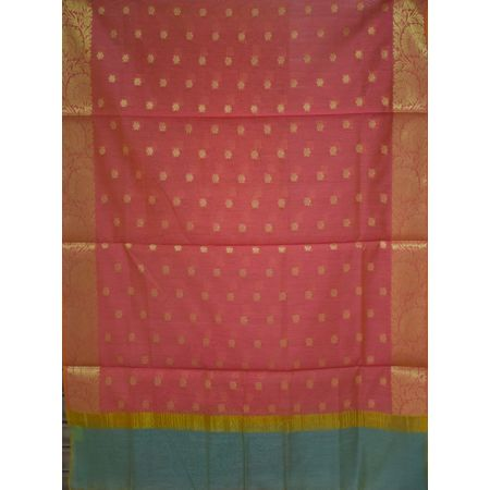 Doll Design Pink With Sky Grey Handloom Banarasi Cotton Silk Dupatta of Uttar Pradesh AJ001567