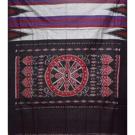 Kargil Design Reddish Grey With Medium Grey Handloom Cotton Saree of Odisha, Nuapatana AJ001559