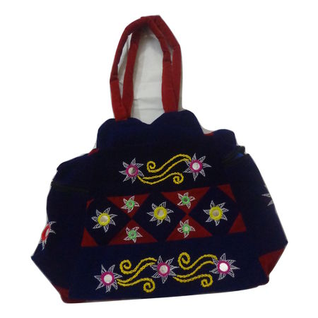 OHA083: Pipili Applique design Blue Handbag.