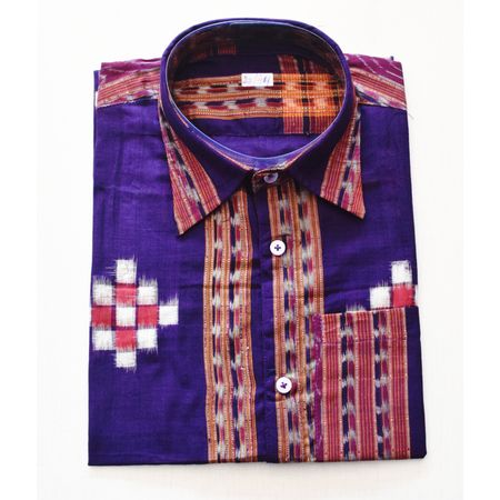 Violet With Multi Handloom Half Shirt for Men Made in Odisha Sambalpur AJ001730