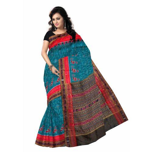 OSS272: Beautiful Sea Green color handloom Sambalpuri IKAT Silk saree with flower and swan design
