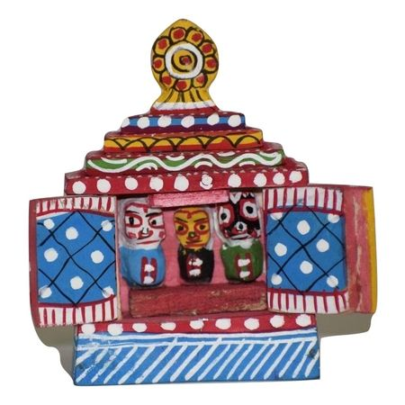OHW017: Wood Carving Small Temple of Lord Jagannath Work stand type.