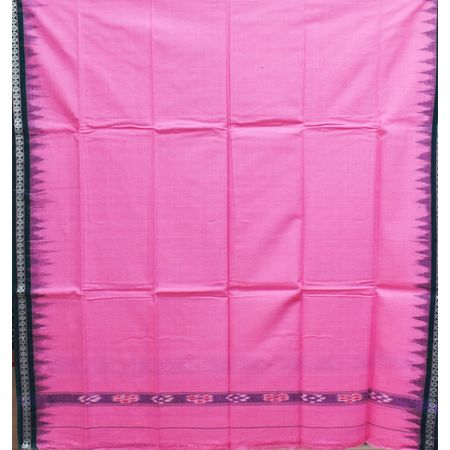 Pink With Green Color Combination Of Handloom Temple Design Towel Of Sambalpur, Odisha AJ001741