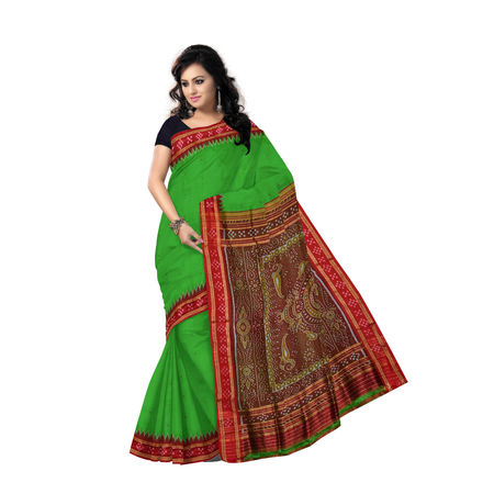 OSS5009: Green buti design Sambalpuri silk saree for wedding wear