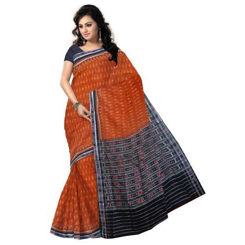 OSS2053: Deep Brown color Cotton saree made of ikat design