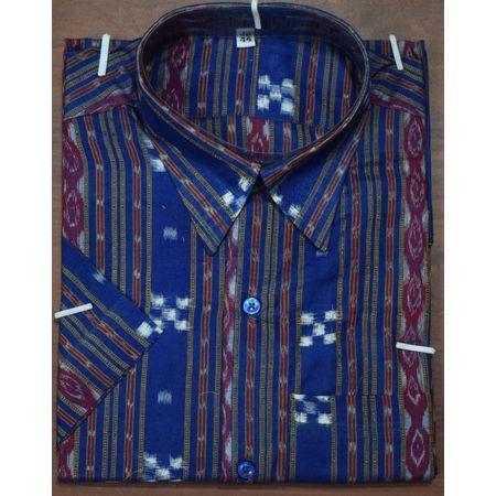 Handloom Sambalpuri Cotton Half Shirt in Blue small Pasapalli AJ001187