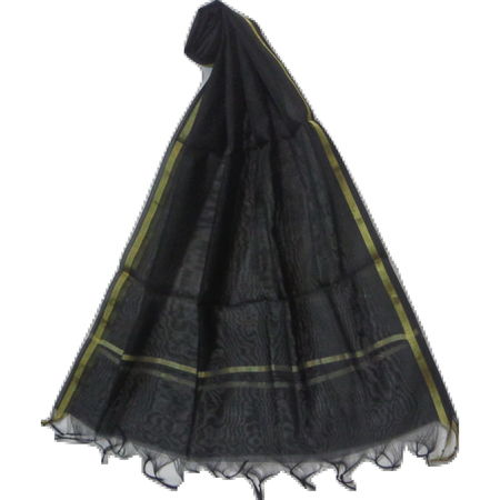OSSUP160: Black Color Banarashee Silk Dupatta.