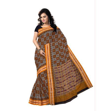 OSS046: Ethnic ikat design ash colour cotton saree