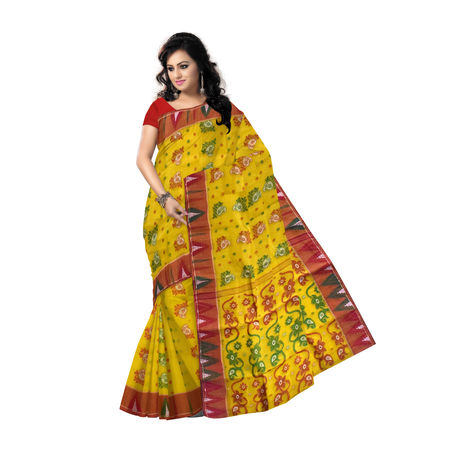 OSSWB90013: Yellow color Tant jamdani sarees of west Bengal