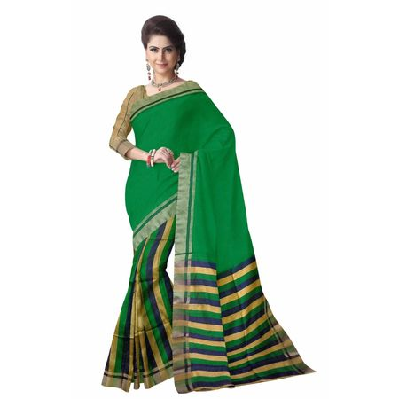 OSSWB039: West Bengal Baha Green Silk sari online shopping.