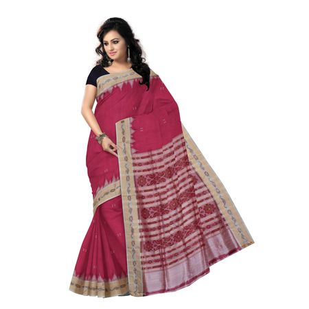 OSS294: Lotus Pink buti design handwoven silk saree