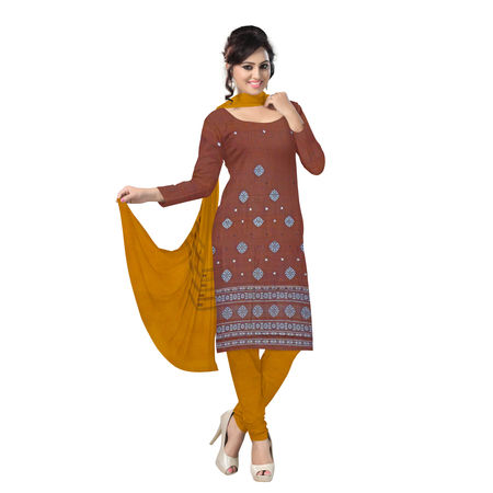 OSS6252: Brown-Orange combination Bomkai Design Unstitched Salwar Suits