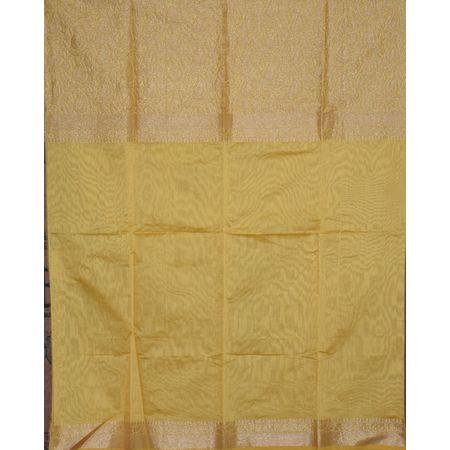 Yellow With Navy Blue Handloom Banarashee Silk Ladies Dress Material AJ001399