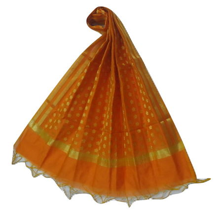 OSSUP154: Banarashi Cotton Silk Antique Gold Zari Butti Dupatta.