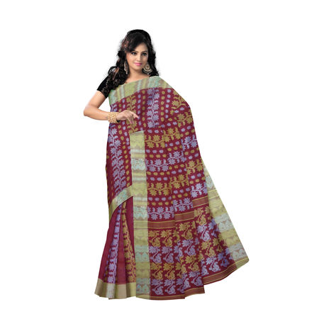 OSSWB9037: Maroon with Light Golden Border Bengal Jamdani Cotton Saree.