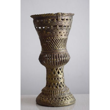 OHD036: Dhokra Flower Stand for Table or TV Top