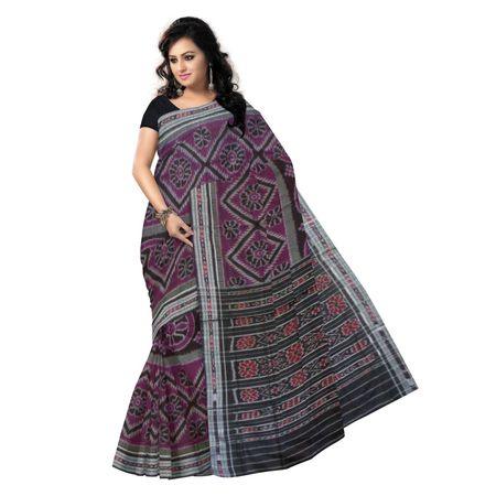 OSS1026: Pink Handwoven Cotton Sari of Odisha for festival wear