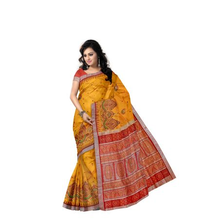 Golden with Maroon Handloom Bridal Embroidery Bomkai Silk saree with Blousepiece AJ001209