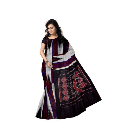 Kargil Design Reddish Grey With Medium Grey Handloom Cotton Saree of Odisha, Nuapatana AJ001559