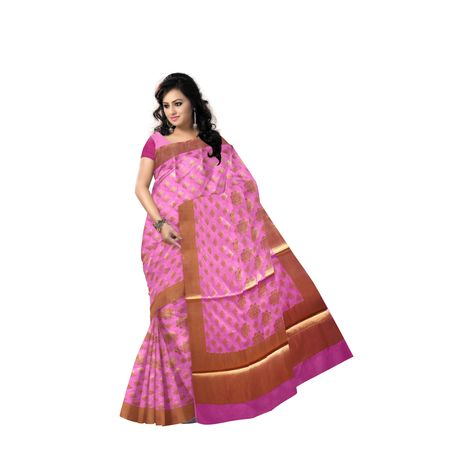 Lavender Pink With Golden Handloom Buti Design Banaras cotton Silk Saree of Uttar Pradesh AJ001584