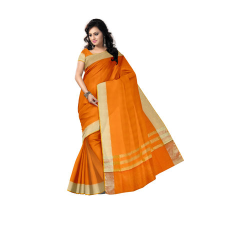 Orange Handwoven Kota Doria Cotton saree AJ000100