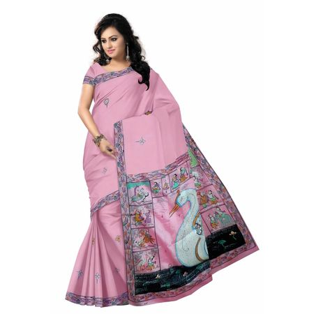 OSS20077: LIght Pink color Patachitra silk saree of odisha raghurajpur.
